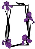 Vector frame with irises and lizard Royalty Free Stock Photography