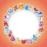 Vector frame with kid and toys stickers Stock Image
