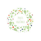 Vector frame with leaves, fruits and vegetables Royalty Free Stock Image