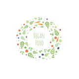 Vector frame with leaves, fruits and vegetables Stock Photography