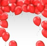 Vector frame made of red shiny balloons on white background with. Space for your text - greeting card or invitation or flyer template Stock Photography