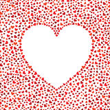 Vector frame of many red hearts for text. Valentines day card. Seamless pattern. Royalty Free Stock Photo