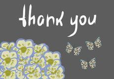 Vector frame with orchids,butterflies and sign `Thank you`. stock illustration