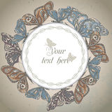 Vector frame with ornamental butterflies. Royalty Free Stock Photo