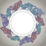 Vector frame with ornamental butterflies. Stock Photos