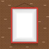 Vector frame for paintings on the brick wall. Royalty Free Stock Image