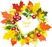 Vector frame with a pattern of autumn leaves, berr Royalty Free Stock Photography