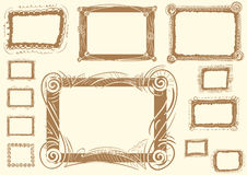 Vector frame for a photo. Set with a brown vector photoframe for a photo and inscriptions Stock Photo