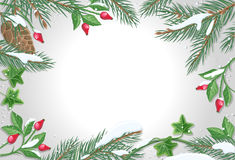 Vector Frame with Pine Tree, Sweetbrier Brunches. Vector frame with sweetbrier, pine tree brunches with snow on sides and white gradient copyspace in the middle Royalty Free Stock Images