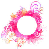 Vector frame with pink watercolor doodles Royalty Free Stock Photos