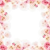 Frame with pink and white roses. Vector illustration. vector illustration