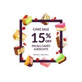 Vector frame with place for text and cartoon cake. Vector frame with place for text and cartoon pieces of cake sale illustration Stock Image