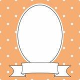 Vector frame on polka dots orange background Stock Photos