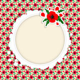 Vector frame with red poppies on the background and white blank space in the center. Template for postcar. Vector frame with red poppies on the background and royalty free illustration