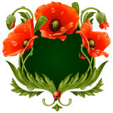 Vector frame with red poppies in the shape of floral beast face Stock Image
