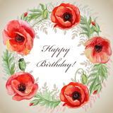 Vector frame with red watercolor poppy flowers. Royalty Free Stock Photo