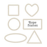 Vector frame from rope. Vector set of isolated frames from rope. Heart frame, round frame, square frame, rectangular frame, triangle frame Stock Photos