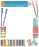 Vector frame of school supplies. Decorative frame of school supplies. Vector image Royalty Free Stock Images