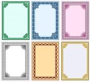 Vector frame set. Framework for design of certificates and diplomas. Vector set Stock Photo