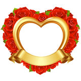 Vector frame in the shape of heart with red roses. And golden ribbon. Valentines day or Wedding greeting card Stock Image