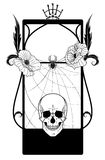 Vector frame with skull and poppies Royalty Free Stock Photo