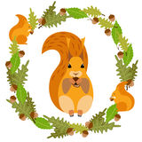 Vector frame with a squirrel. Vector frame with leaves and a squirrel royalty free illustration