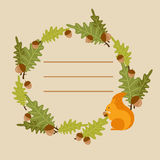 Vector frame with a squirrel. Vector frame with oak leaves and a squirrel stock illustration