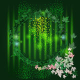 Vector frame with stylish composition of green leaves Royalty Free Stock Photo