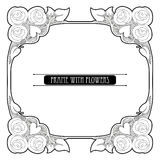 Vector frame with stylized bouquet of flower and leaves in Art Nouveau or Modern style in black isolated on white. Stock Images