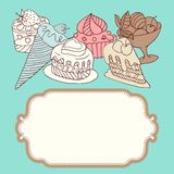 Vector frame with and sweet little cupcakes Stock Photography