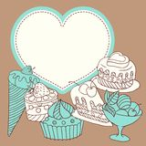 Vector frame with and sweet little cupcakes Stock Photos