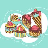Vector frame with and sweet little cupcakes Royalty Free Stock Photography