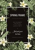 Vector frame template with tropical leaves and flowers on black background stock illustration