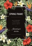 Vector frame template with tropical leaves and flowers on black background. Vertical layout card with place for text. Spring or royalty free illustration