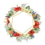 Vector frame template with tropical leaves and flowers, golden chain with white place for text. Square layout card with place for royalty free illustration