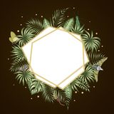 Vector frame template with tropical leaves royalty free illustration
