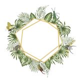 Vector frame template with tropical leaves,  insects and golden chain with white place for text. Square layout card with place for stock illustration