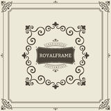 Vector Frame Template. Vintage Ornament Greeting Card. Flourishes Ornament Retro Royal Luxury Invitation, Certificate. With place for your Text. Ornamental stock illustration