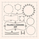Vector frame templates and rope brushes. design element collection Royalty Free Stock Photos