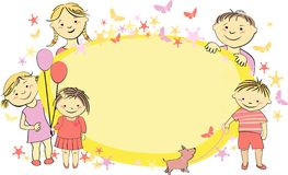 Vector frame for text with children Stock Images