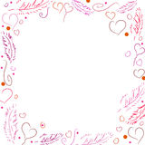 Vector Frame for Valentine's Day. With Hearts and Feather Royalty Free Stock Images