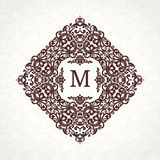Vector frame in Victorian style. Ornate element for design. Place for company name and slogan. Ornament floral vignette for business card, wedding invitations Stock Image