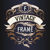 Vector frame - vintage text decoration. Monogram Royalty Free Stock Images