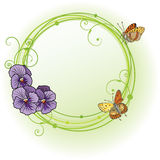 Vector frame with violet pansies. Vector frame with flowers of  violet pansies and butterflies (EPS 10 Stock Images