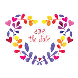 Vector frame watercolor heart with flowers. Save the date Royalty Free Stock Images