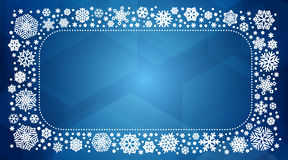 Vector frame with white snowflakes. Vector winter frame with white snowflakes. New year or christmas card, banner, background with copyspace Stock Photography