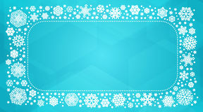 Vector frame with white snowflakes. Vector winter frame with white snowflakes. New year or christmas card, banner, background with copyspace Stock Photo