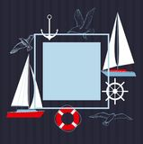 Vector frame with yachts. Yachts on a dark background. Sea theme with yachts, seagulls stock illustration