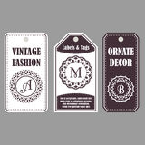 Vector frames design. Vintage set of ornamental tags. Eastern decor with monograms. Template labels for cards. Vector frames design. Vintage set of ornamental Royalty Free Stock Photo