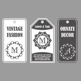 Vector frames design. Vintage set of ornamental tags. Eastern decor with monograms. Template labels for cards. Vector frames design. Vintage set of ornamental Royalty Free Stock Photos